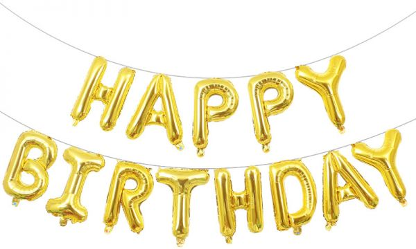 16 Inch Gold Alphabet Letters Balloons Happy Birthday Party