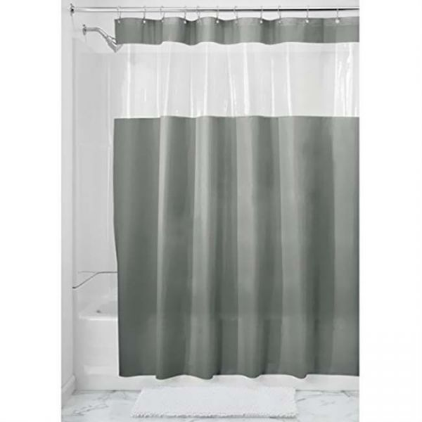 Interdesign Vinyl Hitchcock Grey 72 Inch X Shower Curtain
