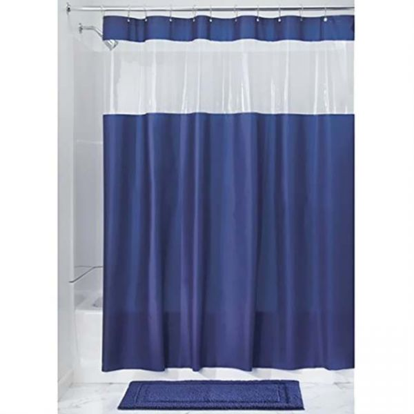 Interdesign Vinyl Hitchcock Blue 72 Inch X Shower Curtain