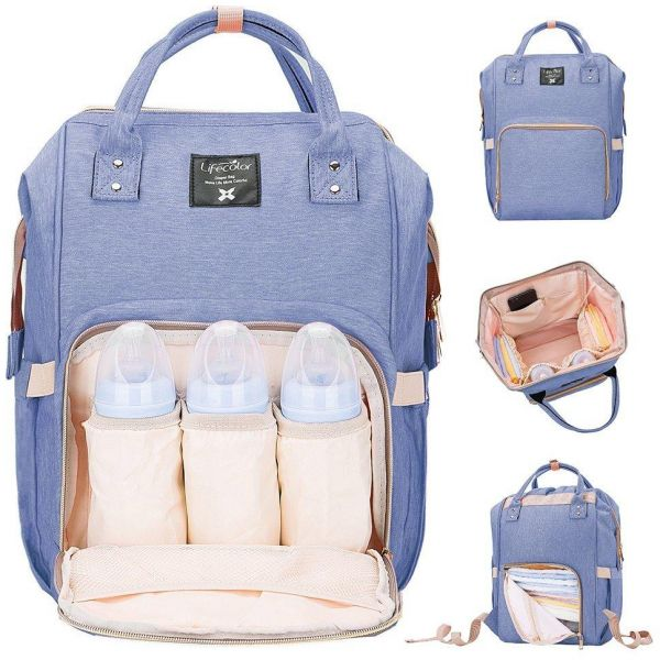 a2bef931cc7 Diaper Bag Multi-Function Waterproof Travel Backpack Nappy Bags for Baby  Care Large Capacity, Stylish and Durable Mom Bag by (Blue Purple)