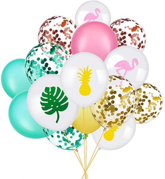 Set Of 45 Party Balloon Flamingo Tropical Leaf Pineapple Balloons Colorful With Round Confetti For Hawaii Luau Decorations