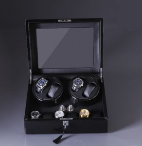 9bedbe0b0345d Black 4 and 6 Double Watch Winder Box for Rolex Automatic Watches with 6  Storages   Quiet Japanese Motor