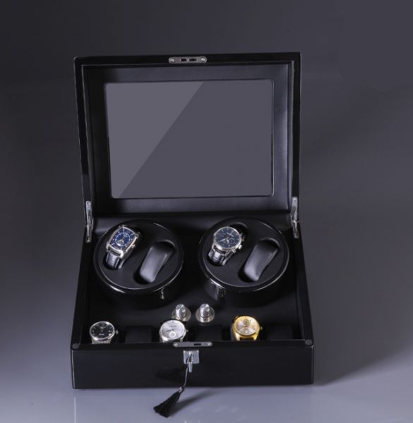 Black 4 And 6 Double Watch Winder Box For Rolex Automatic Watches
