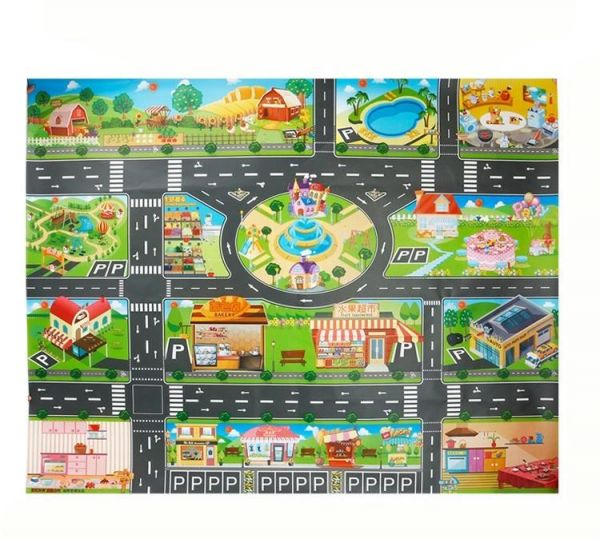 City Street Roads Kids Fun Car Play Rug 100x150cm Non: Children's Play Mats City Map Large Size With 18 Pcs Large