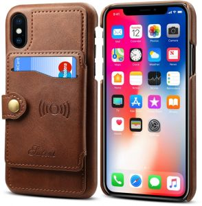 For iPhone XS Max leather case Wallet cover with Credit Card Holder Slot Pocket Shockproof Bumper Phone Cover Protective Sleeve for Apple iPhone XS MAX 6.5 ...