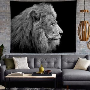 802a01e7ec5 Lion Tapestry Table Cover Bedspread Beach Towel King of The Forest Lion Head  Portrait Freedom Sketchy Monochrome Wild Animal Dorm Decor 47W x 47L Inch  Black ...