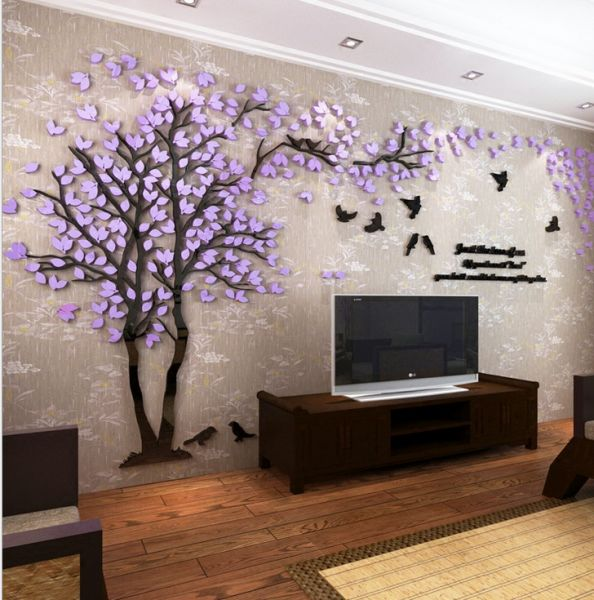 creative couple tree 3d sticker acrylic stereo wall stickers home