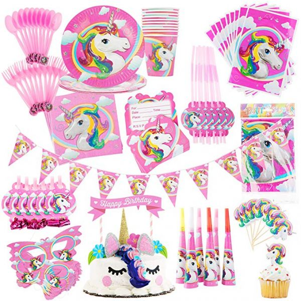126pcs Unicorn Party Supplies For Birthday Decorations Bundle Set Of Tableware Happy Banner Large Rainbow Unicorns Balloon Latex Balloons