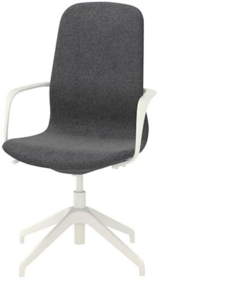 LANGFJALL Swivel chair, Gunnared dark grey, white