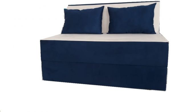 Folding Bed Duo Sofa Cum Bed Dark Blue Off White Upholstered