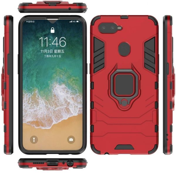 the latest efd6d d90bd Oppo f9 - Iron man case cover with magnetic car holder and metal ring - red