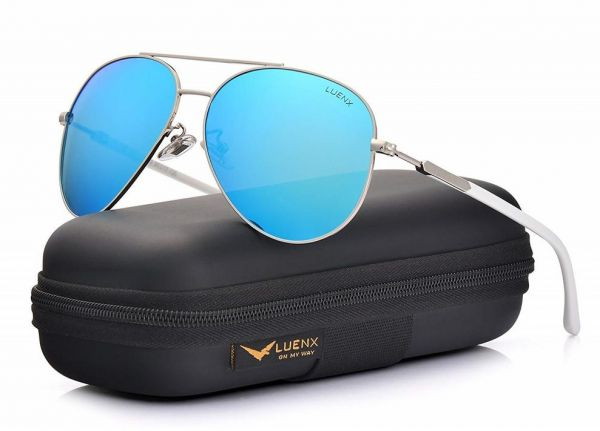 b411cfc7ec LUENX Aviator Sunglasses Womens Polarized Mirror with Case - UV 400 ...