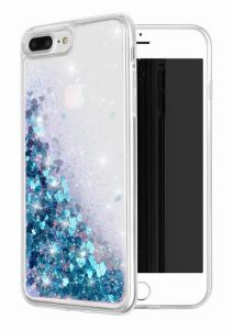 Case for iPhone 8 Plus/iPhone 7 Plus Case Bling Flowing Liquid Floating Glitter Waterfall TPU Protective Phone Cover, Blue