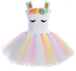 821f3b15724 Girls Rainbow Unicorn Tutu Dress Cute Princess Fancy Dress Birthday Pageant Party  Dresses Girls Christmas Halloween Pony Cosplay Costume for Baby Girls ...