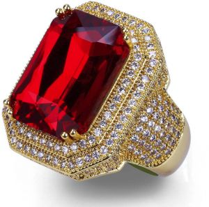Men S Ruby And Diamond Ring Luxury Ring Men S Jewelry Gold Plated