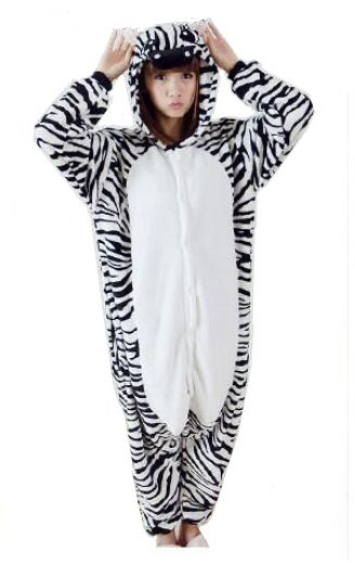 92c5dd24f Zebra style Flannel one-piece nightwear with long sleeves cartoon ...