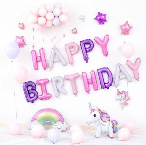 Pink Happy Birthday Letter Balloons.Unicorn Kids Birthday Party Multi Color Balloons Multi Color Letter Balloons Banquet Arrangement Balloons Family Or Friends Birthday Hotel Party