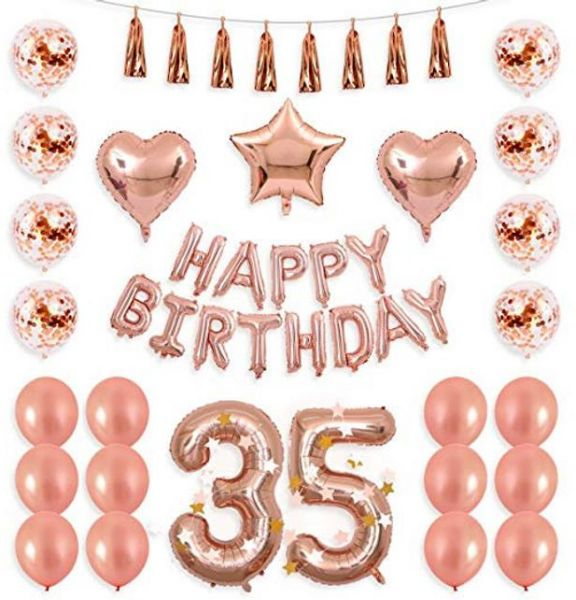 35th Birthday Decorations 40 35 Balloon Rose Gold Confetti Balloons Thirty Five Party Supplies Heart Start