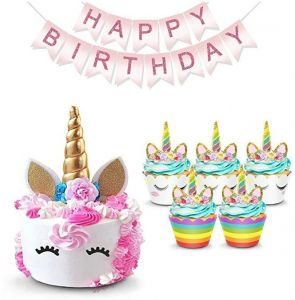 Unicorn Cake Topper with Eyelashes, Cupcake Wrappers and Happy Birthday  Banner Unicorn Party Supplies,for Birthday Party, Baby Shower, Kids Party
