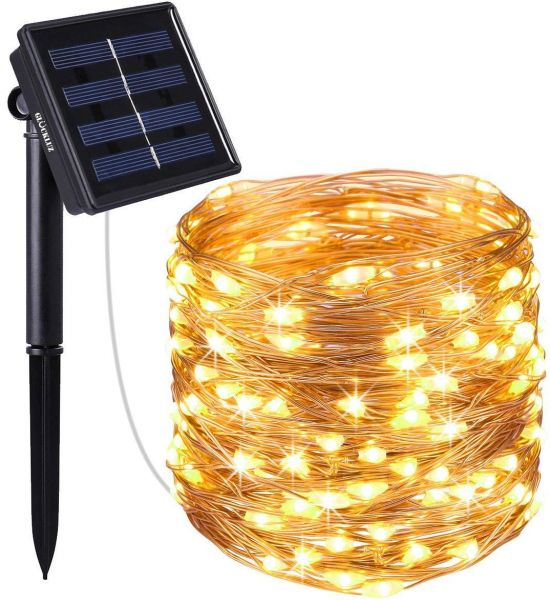 Solar Ed String Lights 200 Led Copper Wire Lighting Starry Light Waterproof Decoration Lamp For Outdoor Gardens Home Dancing Party