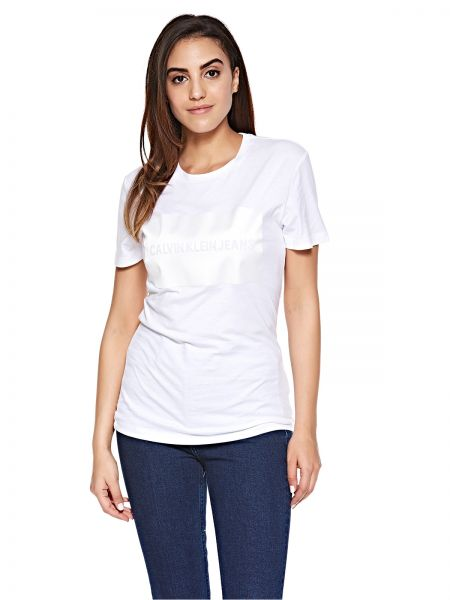 6d605a215 ... Institutional Satin Box Logo Regular Tee for Women - Bright White. by Calvin  Klein Jeans, Tops - Be the first to rate this product. 35 % off