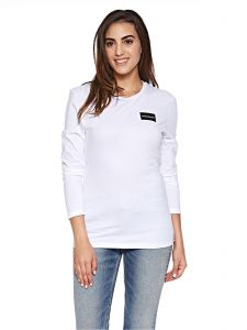 af144e74a3 Calvin Klein Jeans Institutional Box Logo Long Sleeve Tee for Women -  Bright White