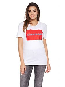 a7860c0fe1 Calvin Klein Jeans Institutional Box Logo Regular Fit Tee for Women -  Bright White   Tomato