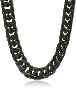 ea1fac2305bd9e Crucible Jewelry Mens Black IP Stainless Steel Polished Curb Chain Necklace  (10 mm), 24-Inch