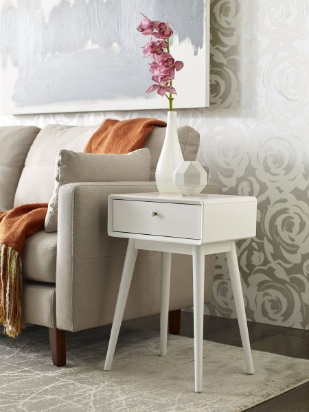 Swell Elle Decor Rory One Drawer Side Table White Home Interior And Landscaping Ologienasavecom
