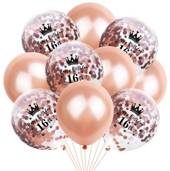 16th Birthday Balloon Decoration Crown Set Romantic Party Package Sequin Rose Gold Latex Bag