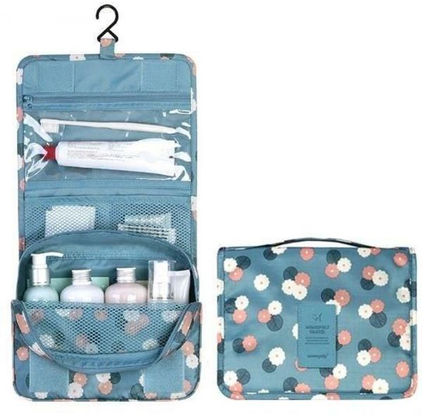 e227e316505a Portable Waterproof Travel Makeup Kit Organizer Bathroom Storage Cosmetic  Bag Carry Case Toiletry Bag with Hanging Hook, Blue Flowers