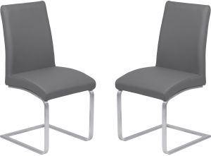 4ad2773bb54 Armen Living LCBLSIGRBS Blanca Dining Chair Set of 2 in Grey Faux Leather  Brushed Stainless Steel Finish