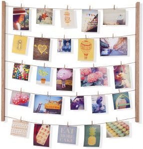 Umbra Hangit Photo Display Diy Picture Frames Collage Set Includes Hanging Wire Twine Cords Natural Wood Wall Mounts And Clothespin Clips For