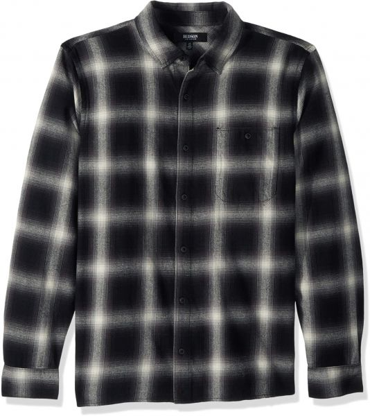 bb31fa92d74a60 Hudson Jeans Men's Weston Plaid Flannel Shirt, Black/White Flannel Plaid,  LG | KSA | Souq