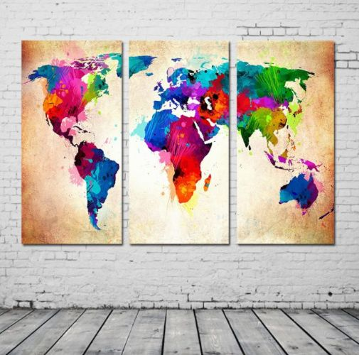 Frameless Map of world Abstract Painting Diy Digital Paintng By Numbers Modern Wall Art Picture For Home Wall Artwork | Souq - UAE