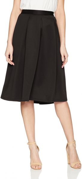 49e6520cd3 Chelsea & Theodore Women's Inverted Pleat Scuba Skirt, Black, 6 ...