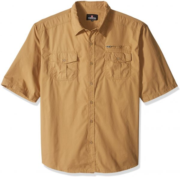 6b9320d60e Southpole Men s Short Sleeve Solid Woven Shirt with Chest Pockets ...