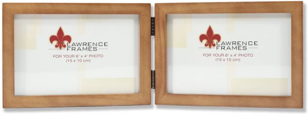 Lawrence Frames 766064D Nutmeg Wood Hinged Double Picture Frame, 6 ...