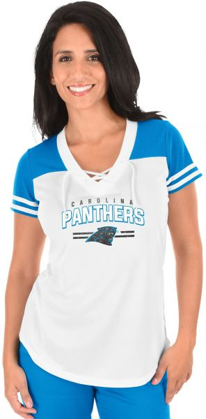 low priced 309d6 360a0 Profile Big & Tall NFL Carolina Panthers Adult Women NFL Plus S/Lace Up V  Neck Tee,2X,WHITE/ELECTRIC BLUE