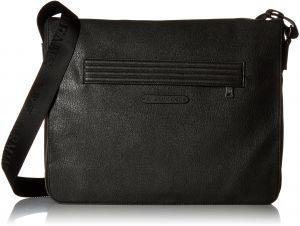 Armani Jeans Men s Polyester and Pu Messenger Bag with Outside Zip Pocket,  Black e7f2b36058