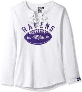 93377edf Icer Brands NFL Baltimore Ravens Women's Fleece Sweatshirt Lace Long Sleeve  Shirt, Small, White