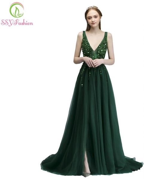 700bbff6230c SSYFashion Women s Evening Dress Luxury V-neck Sleeveless Sequins Beading  Wedding Prom Formal Gown Dark Green US 12