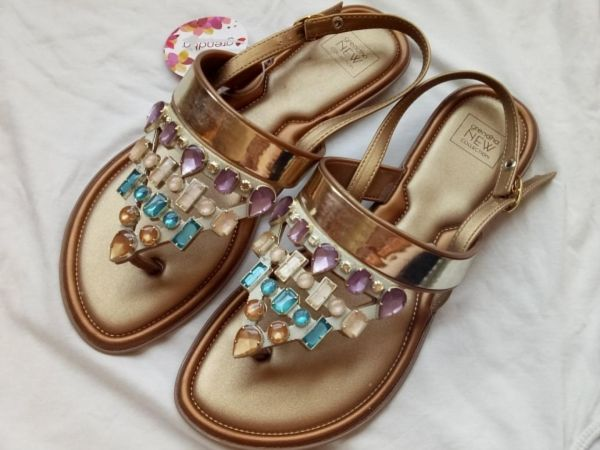 e1aa401888e Grendha Gold  pastel colors Flat Sandals