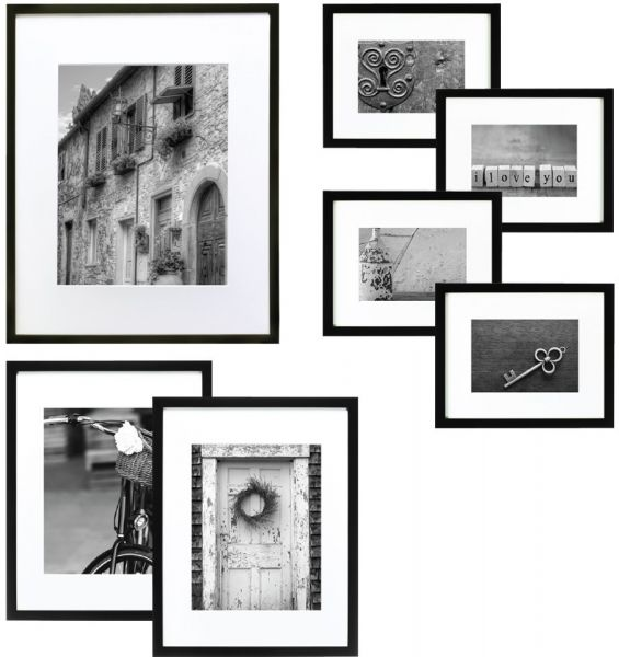 Gallery Perfect 7 Piece Black Wood Photo Frame Wall Gallery Kit ...