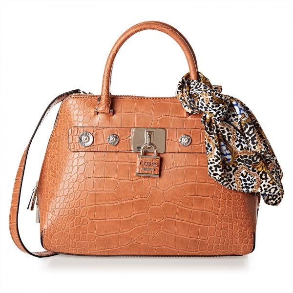 Guess Satchel Bag For Women Cognac