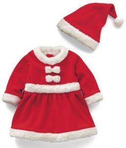 0e0c9bd00819 Fashion Girls Christmas Santa Clues Costume long sleeve outfit Xmas Party  fancy dress with hat for 100 height baby