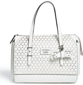 aae02d32d5 Guess Factory Women s Bernwell Cutout Satchel Bag - white
