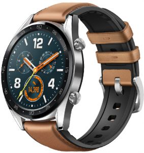 968a01807 HUAWEI WATCH GT Classic Stainless steel Saddle Brown Hybrid Strap FTN-B19