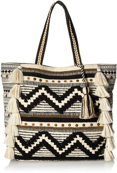 b2307ee59c2f Steve Madden Raine Bohemian Tasseled Chevron Patterned Fabric Tote ...