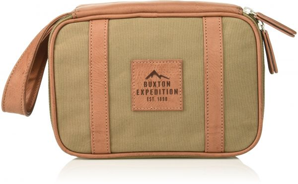 Buxton Men s Expedition Ii Huntington Gear Top Zip Canvas Travel Kit ... 9948656c5b7ad